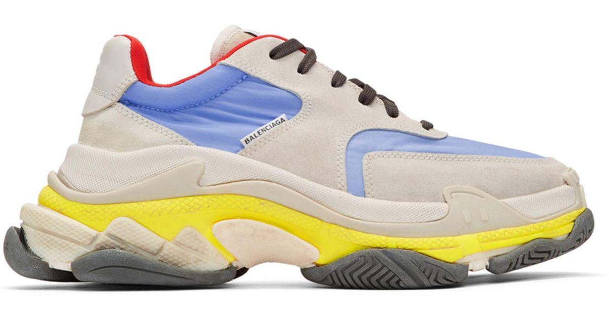 f985684a9b47 Lyst - Balenciaga Blue   Yellow Triple S Sneakers in Blue