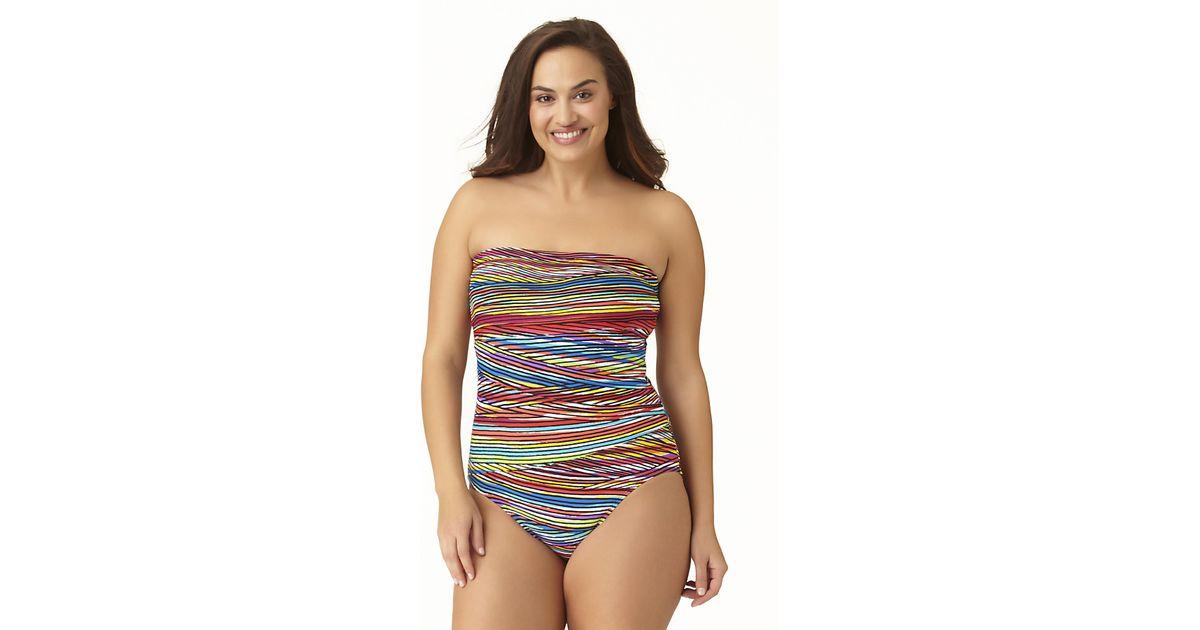 a9801e0bf9 Lyst - Anne Cole Size Pick Up Stix Asymetric Spliced Bandeau One Piece  Swimsuit