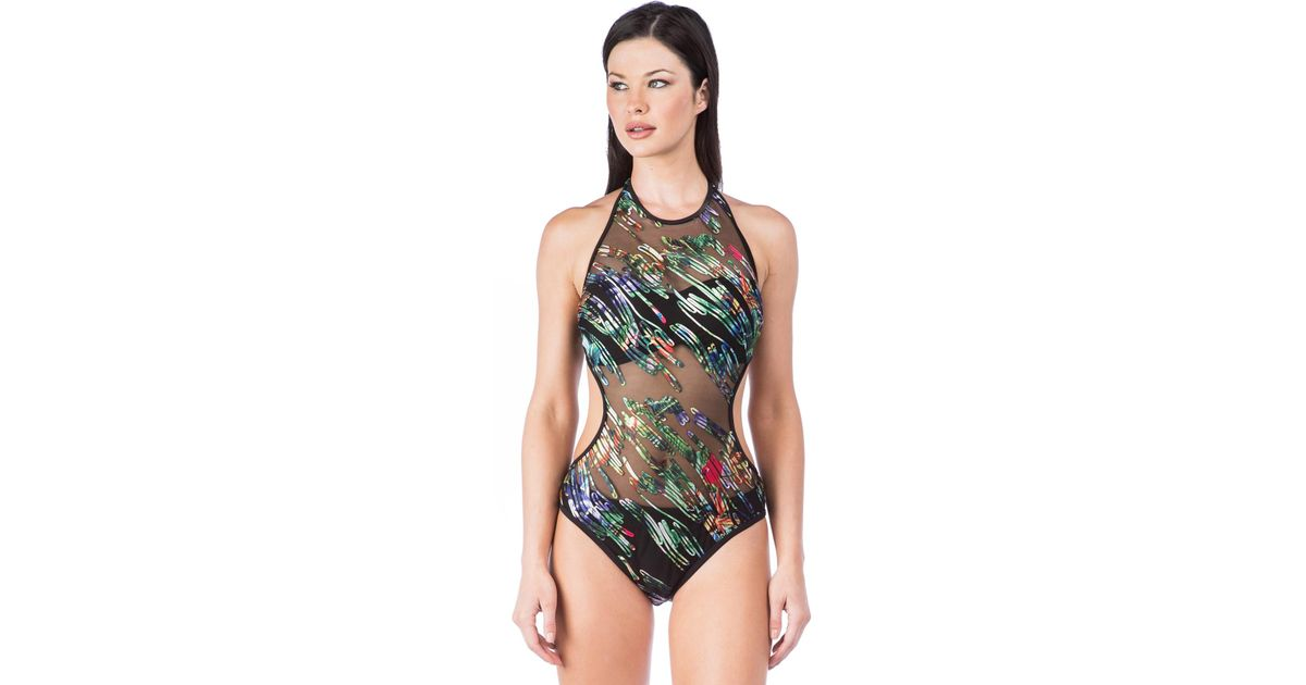 9dd452fc71 Kenneth Cole After The Sun Sets High Neck Monokini One Piece Swimsuit in  Black - Save 55% - Lyst
