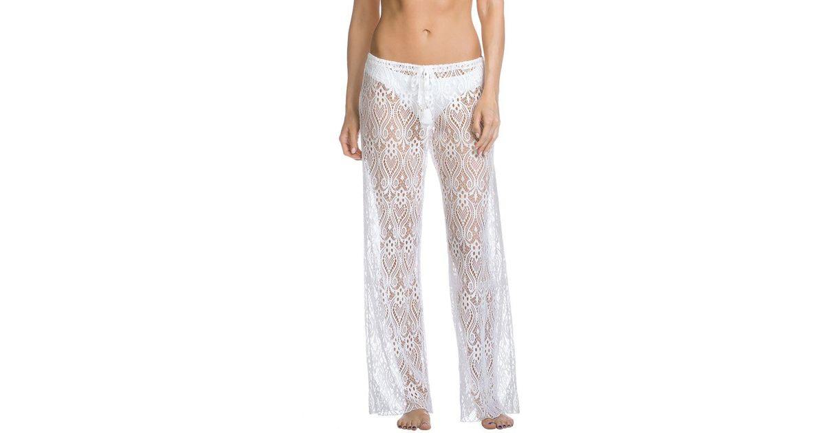 ae59863c45 Lyst - Becca Poetic Covers Sheer Lace Pant Swim Cover Up in White