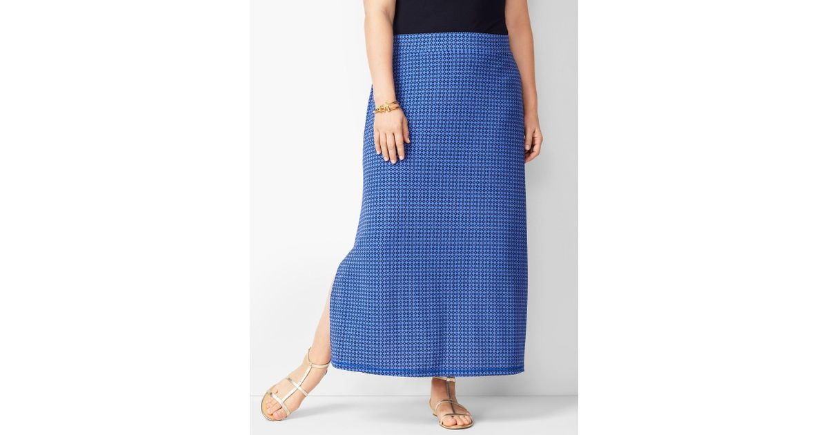eace4b83020c Talbots Plus Size Knit Jersey Geometric Maxi Skirt in Blue - Lyst