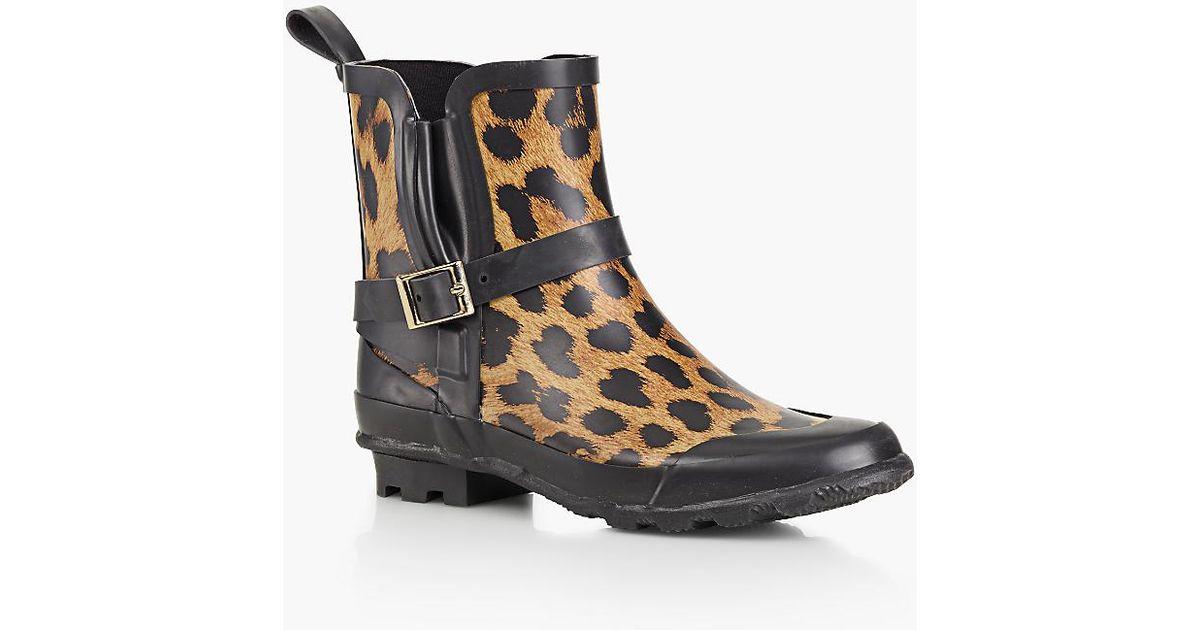 Talbots Juvia Rain Boots Leopard Print In Black Lyst