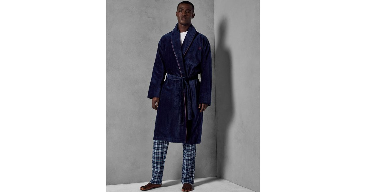 161fe957729455 Ted Baker Cotton Dressing Gown in Blue for Men - Lyst