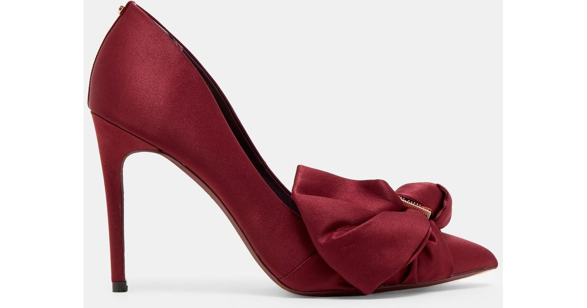 770a05c4e77f Ted Baker Satin Bow Detail Court in Red - Lyst