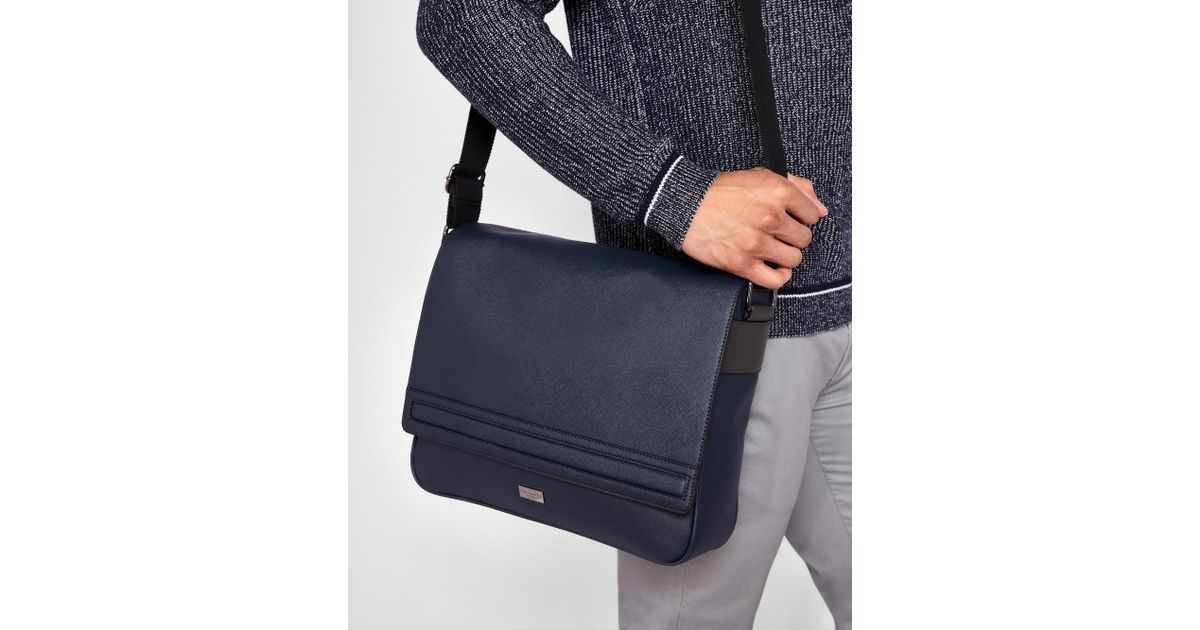 Lyst - Ted Baker Crossgrain Messenger Bag in Blue for Men af07042edb5ce