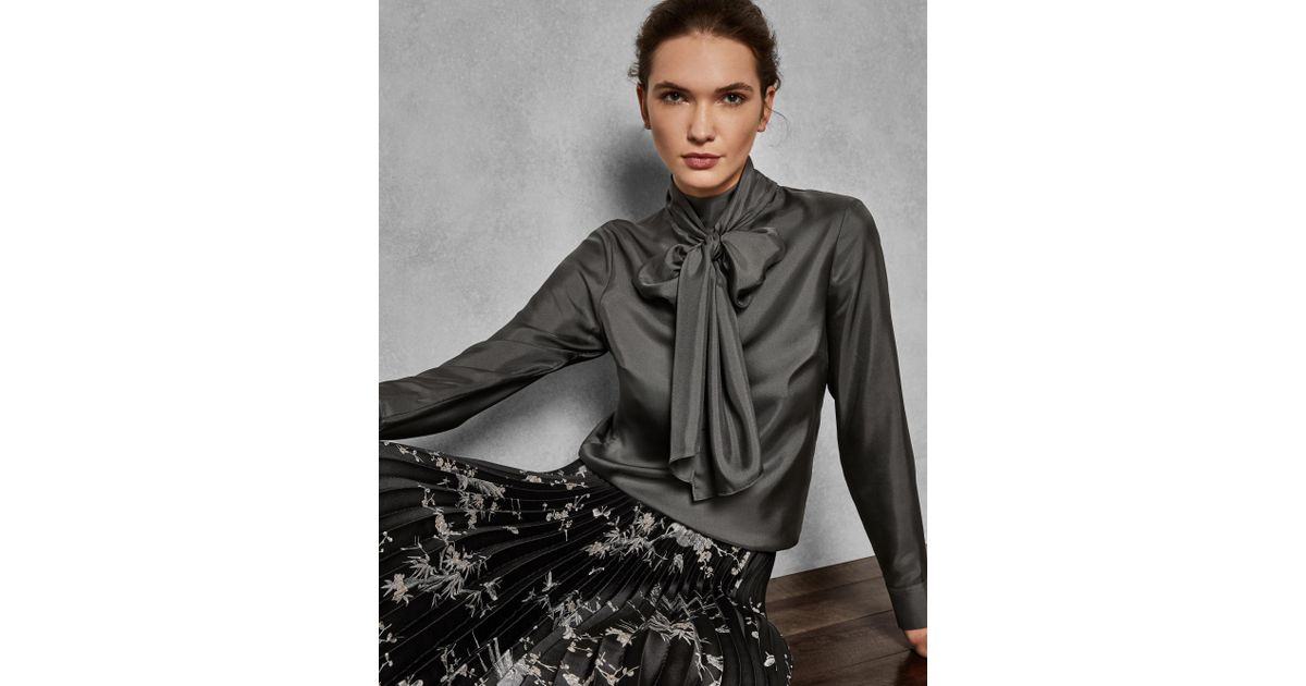 647aa18a9ce8f2 Ted Baker Marther Ice Palace Tie-neck Silk Blouse in Gray - Lyst