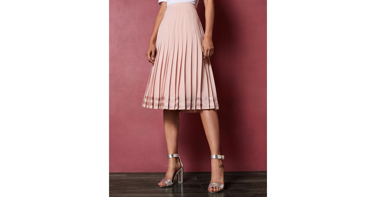 44954b65a Ted Baker Pleated Stripe Hem Skirt in Pink - Lyst