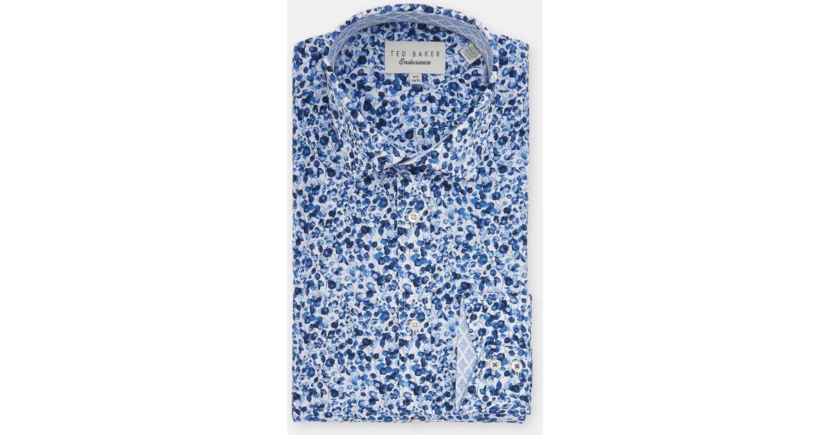 fcc7a487997d Ted Baker Endurance Floral Cotton Shirt in Blue for Men - Lyst