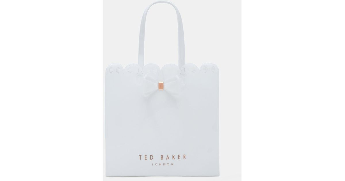 1ebc3145651d8 Ted Baker Scallop Edge Large Bow Shopper Bag in White - Lyst