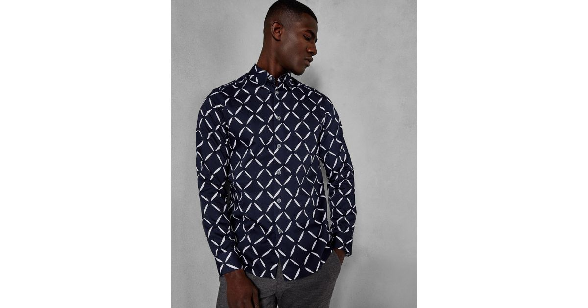 95900795604a5b Lyst - Ted Baker Diamond Print Cotton Shirt in Blue for Men