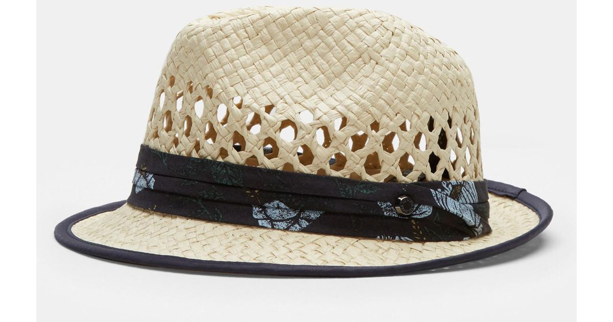 e22ad89f2d7a2 Ted Baker Woven Trilby Hat in Natural for Men - Lyst