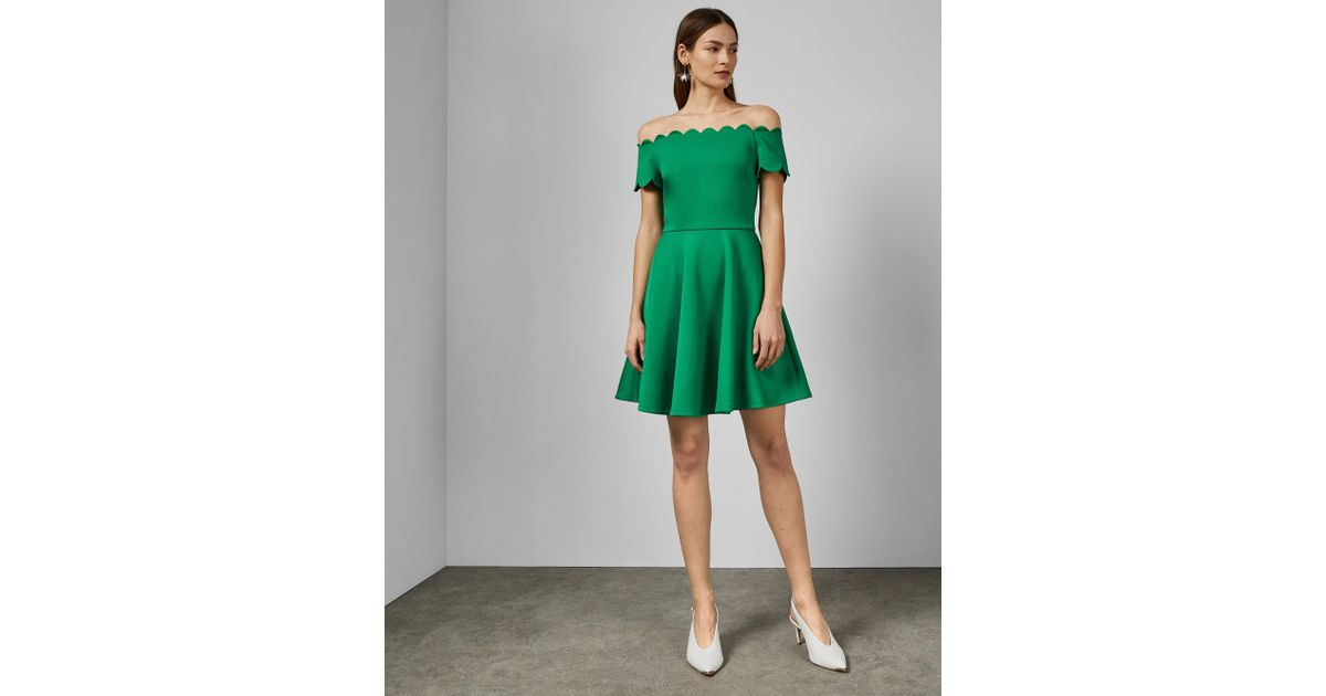 1e2a9484c468 Ted Baker Bardot Scallop Skater Dress in Green - Lyst