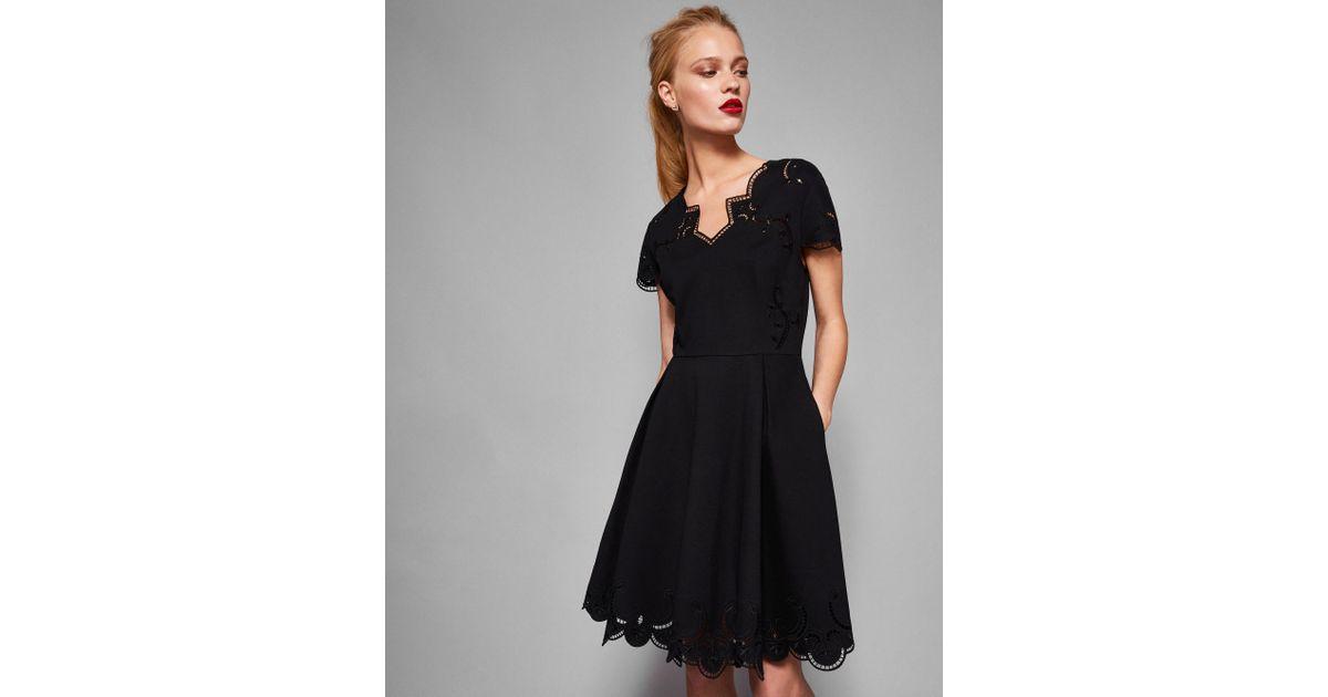 Lyst Ted Baker Embroidered V Neck Skater Dress In Black