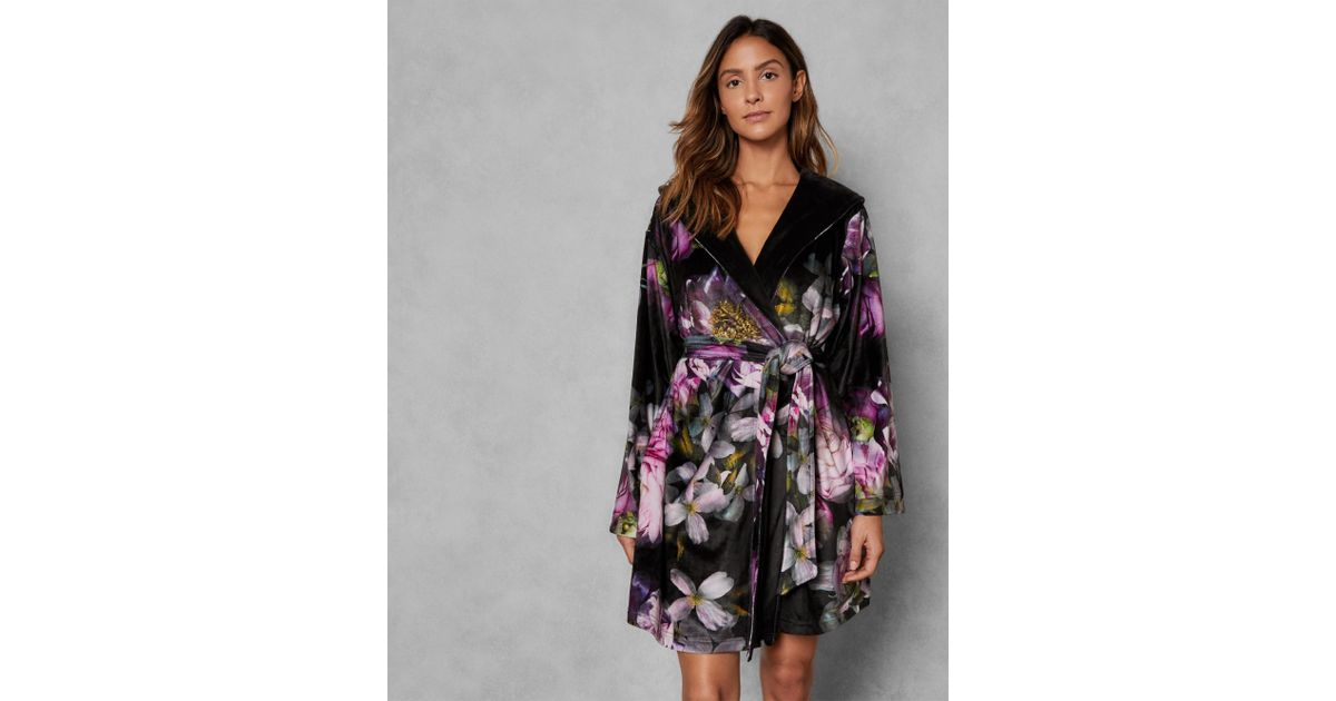 c8f42a776bfd Ted Baker Sunlit Floral Dressing Gown in Black - Lyst