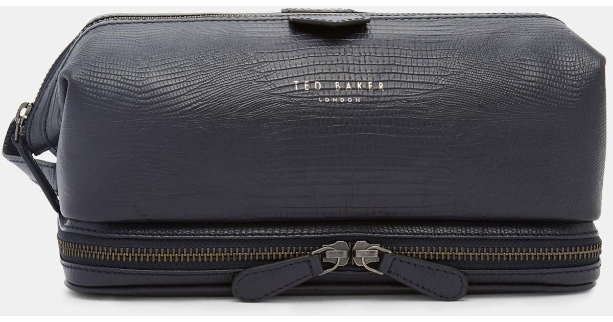 f9a697388 Ted Baker Croc Effect Leather Wash Bag in Blue for Men - Lyst