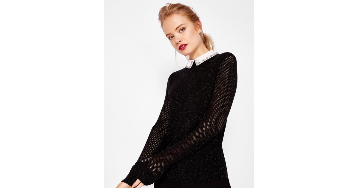 a482fab35210e9 Ted Baker Embellished Collar Metallic Jumper in Black - Lyst