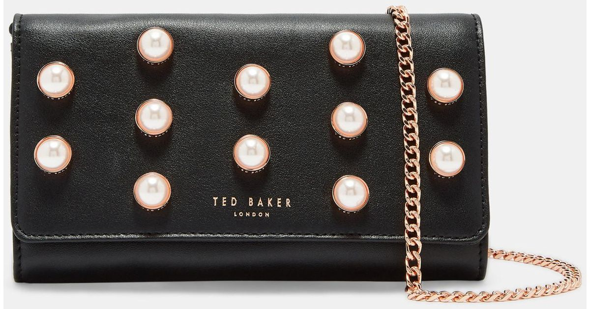 Pearl Stud Leather Matinee Purse With Chain Ted Baker hhKFWil
