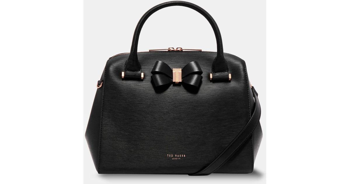 4bb045670a2a43 Lyst - Ted Baker Bow Detail Leather Bowler Bag in Black