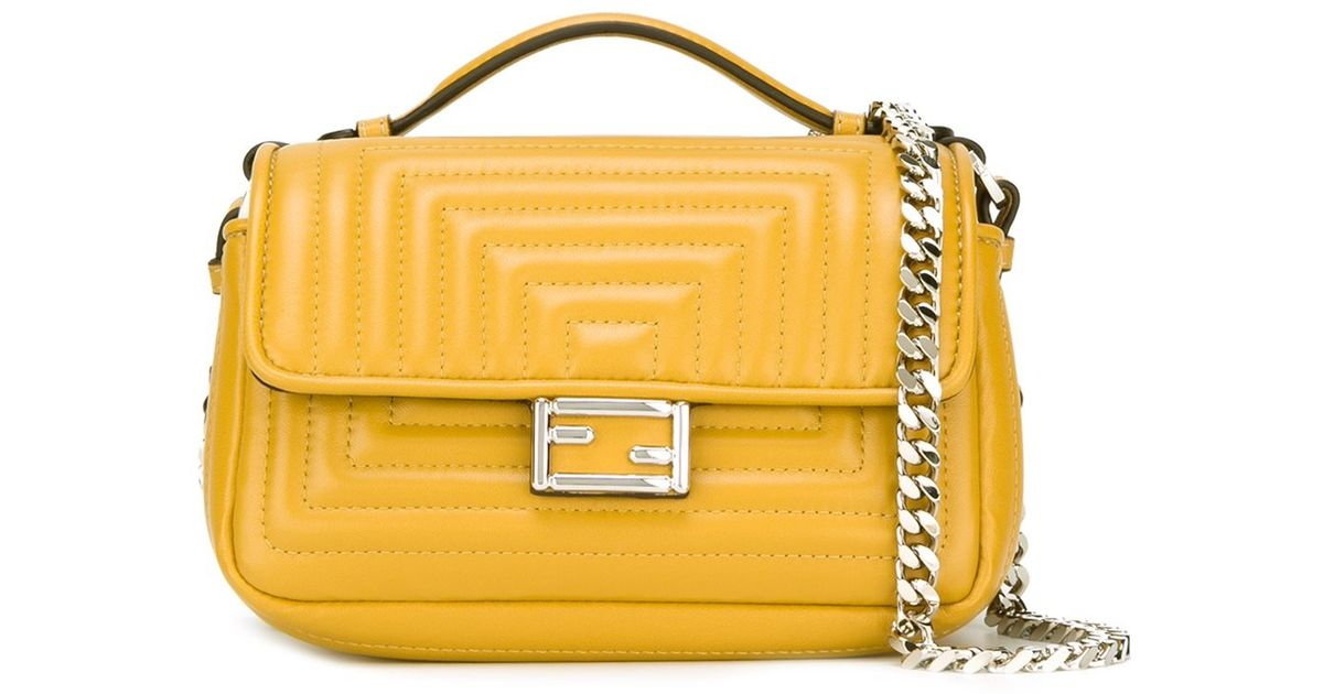 76ad5574d7 Lyst - Fendi Micro  double Baguette  Crossbody Bag in Yellow