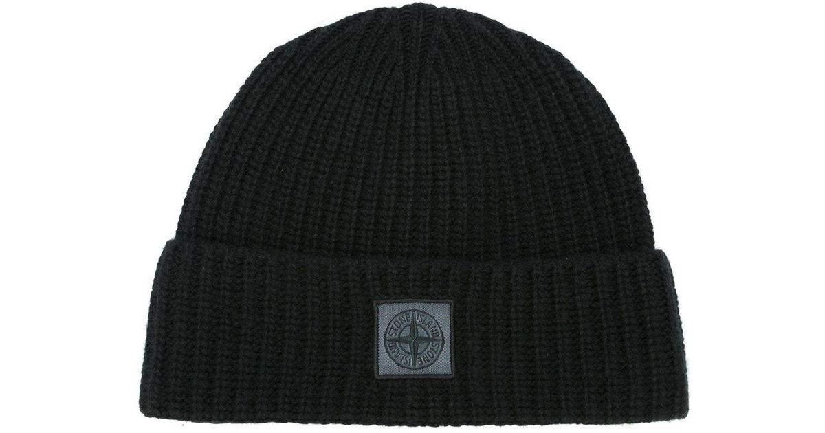 c1d4f30da68 Lyst - Stone island Wool Beanie in Black for Men