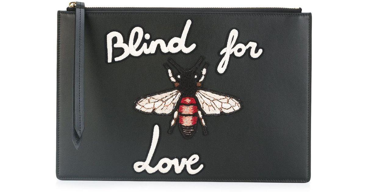 5fbafb394d96df Gucci Blind For Love Clutch Bag in Black - Lyst