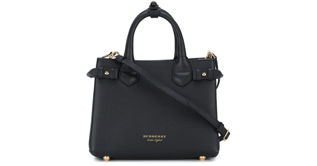 ae5ea1fbd399 Lyst - Burberry Banner Small Leather Shoulder Bag in Black