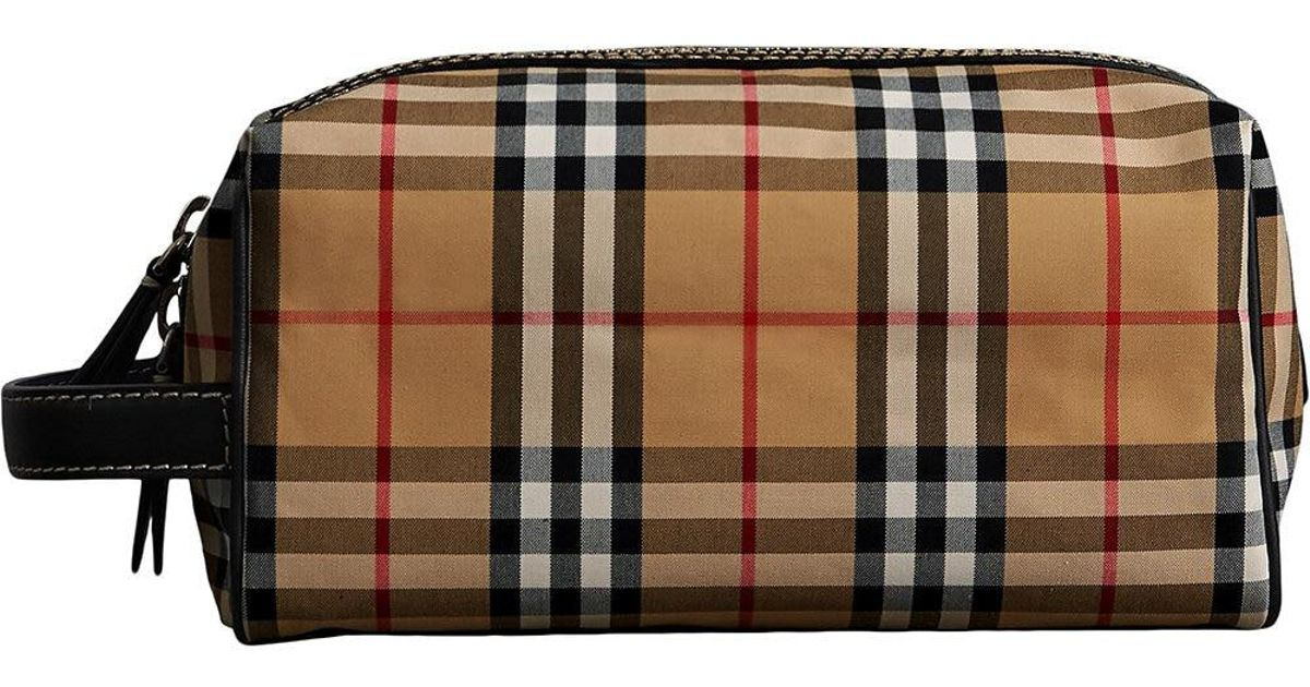 ae9040005981 Burberry Check Motif Wash Bag in Blue for Men - Lyst