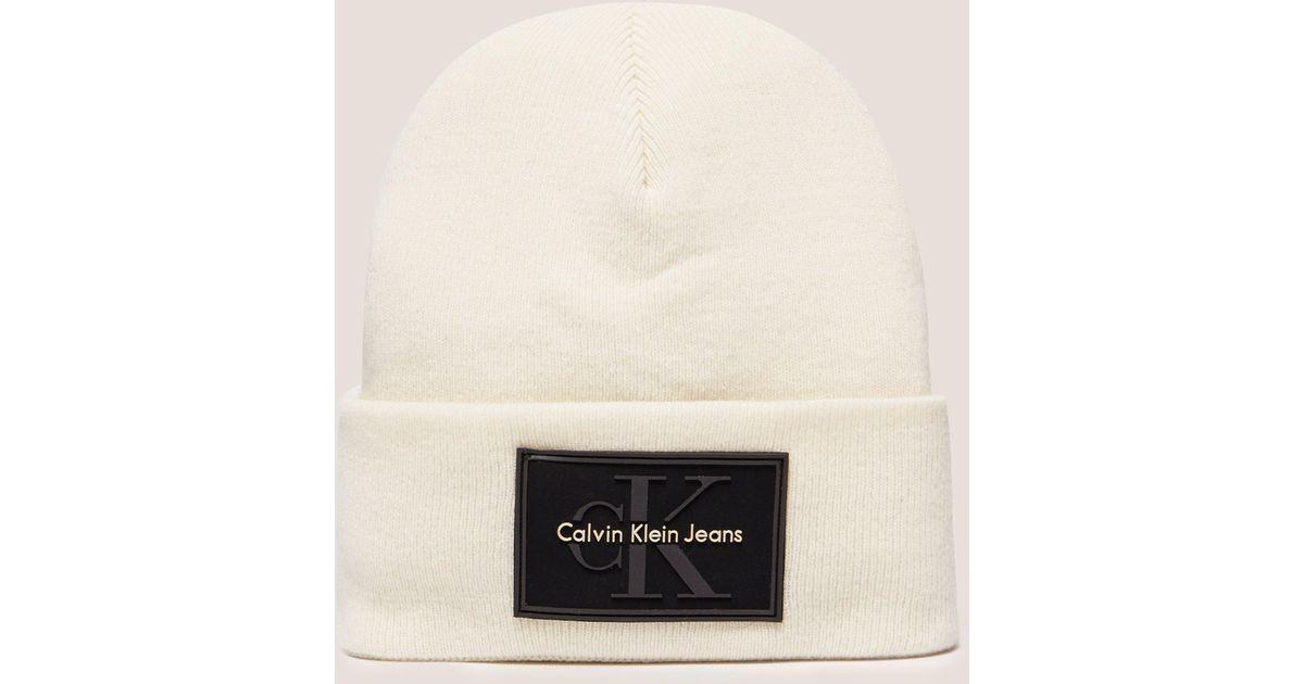 cdf7fb990258c Calvin Klein Reissue Beanie White in White - Save 9% - Lyst