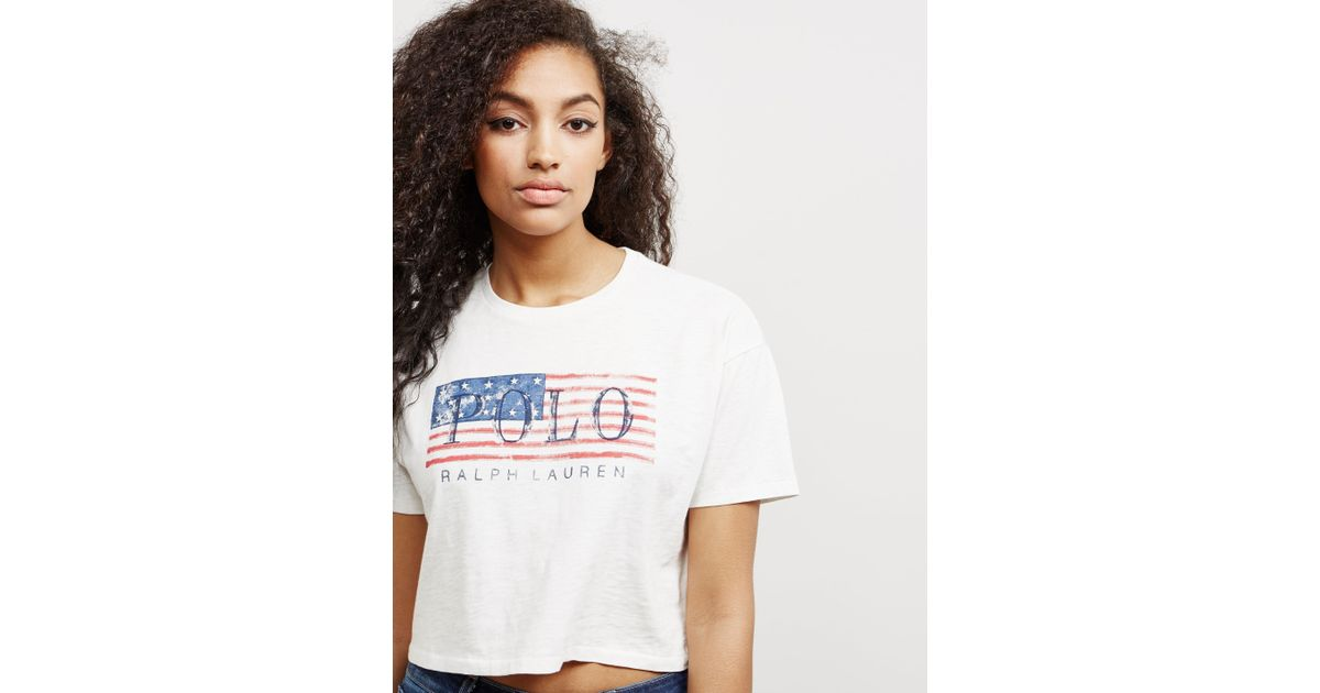 8a850ee879598 Polo Ralph Lauren Flag Short Sleeve Crop T-shirt - Online Exclusive White  in White - Save 26% - Lyst