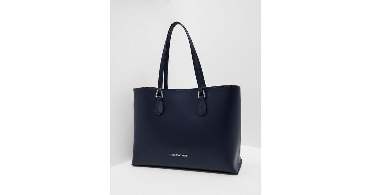 Lyst - Emporio Armani Womens Wilma Large Shopper Bag Navy Blue in Blue 0b08014da2c1a