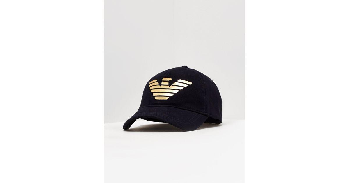 806640ada26 Lyst - Emporio Armani Foil Eagle Cap Navy Blue in Blue for Men