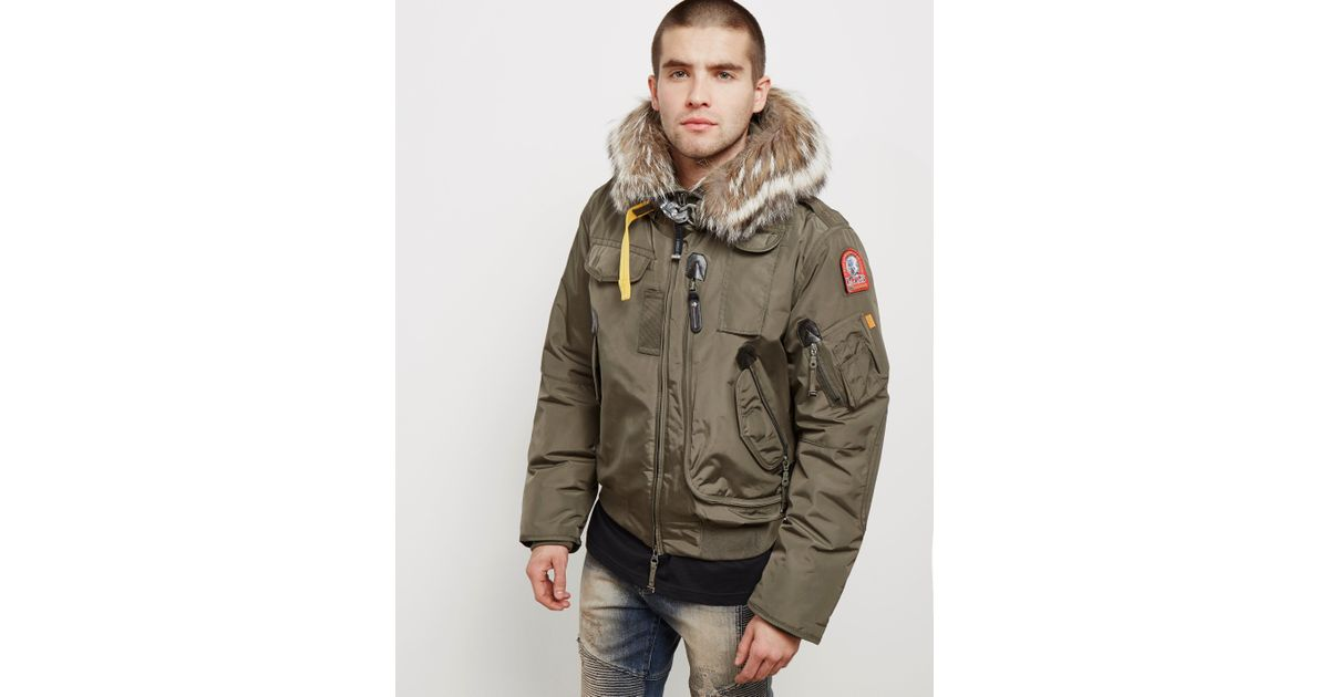 0fcbde3d ... discount code for lyst parajumpers mens gobi padded bomber jacket green  in green for men save