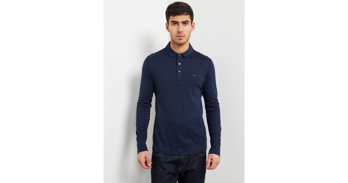 af11bc95 Michael Kors Sleek Long Sleeve Polo Shirt Navy Blue in Blue for Men - Lyst