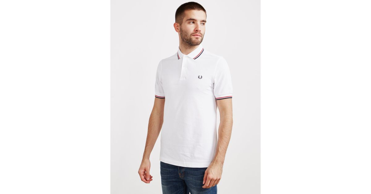 fc1b7d83d6 Lyst - Fred Perry Twin Tipped Short Sleeve Polo Shirt in White for Men -  Save 56%