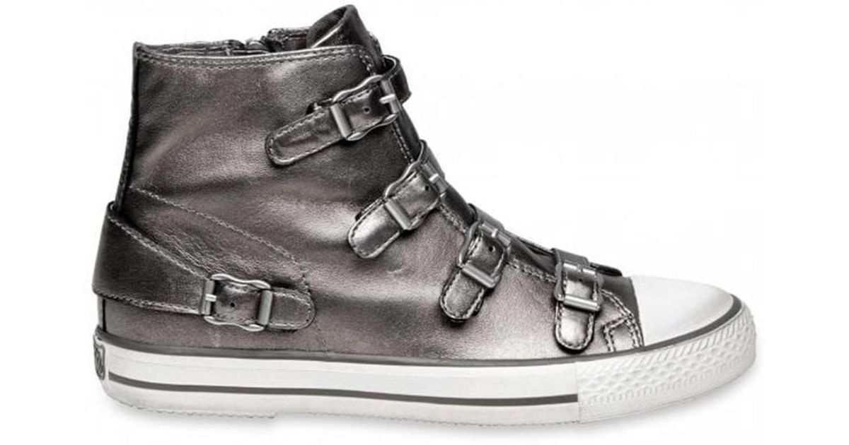 e8fe55a18360f Lyst - Ash Virgin Moon Leather Buckle Trainers in Metallic
