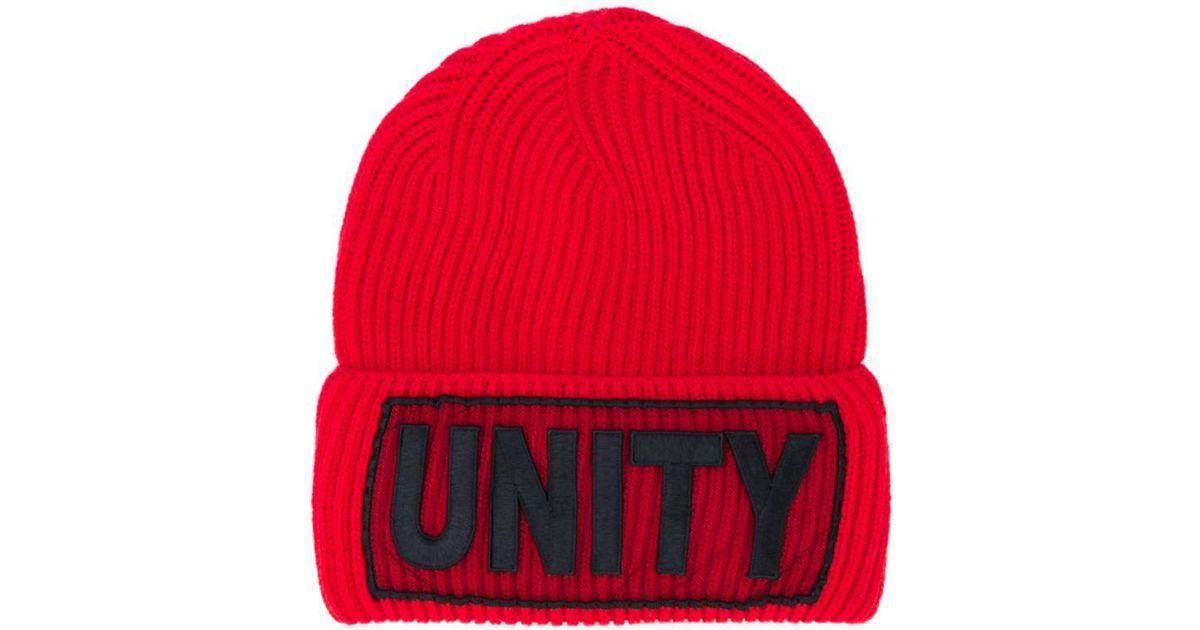 ea0835d2b44 Lyst - Versace Unity Manifesto Beanie Hat in Red