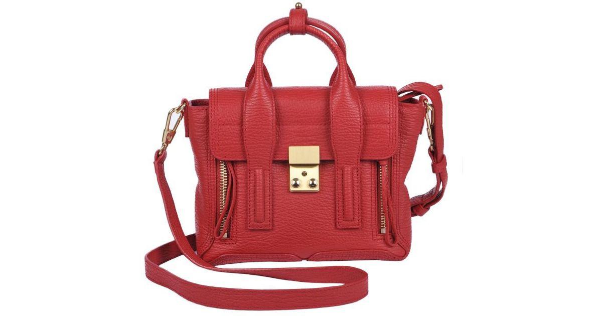 Lyst 3 1 Phillip Lim Pashli Red Leather Mini Satchel Women S Handbags In