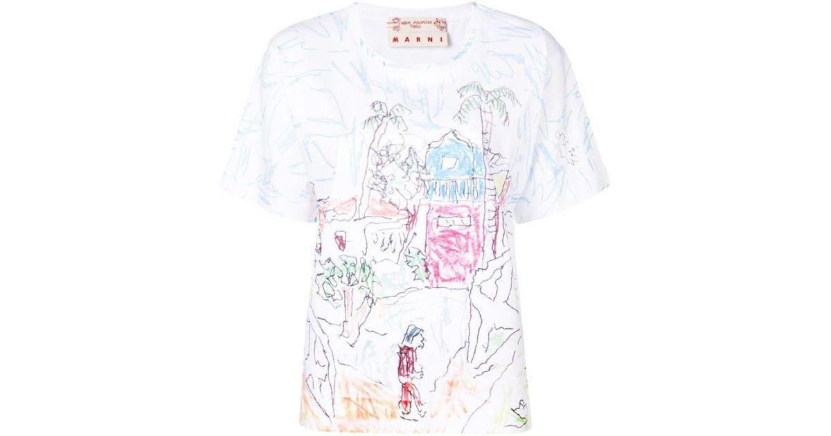 Marni doodle print T-shirt Free Shipping Discounts vmEzCng5z