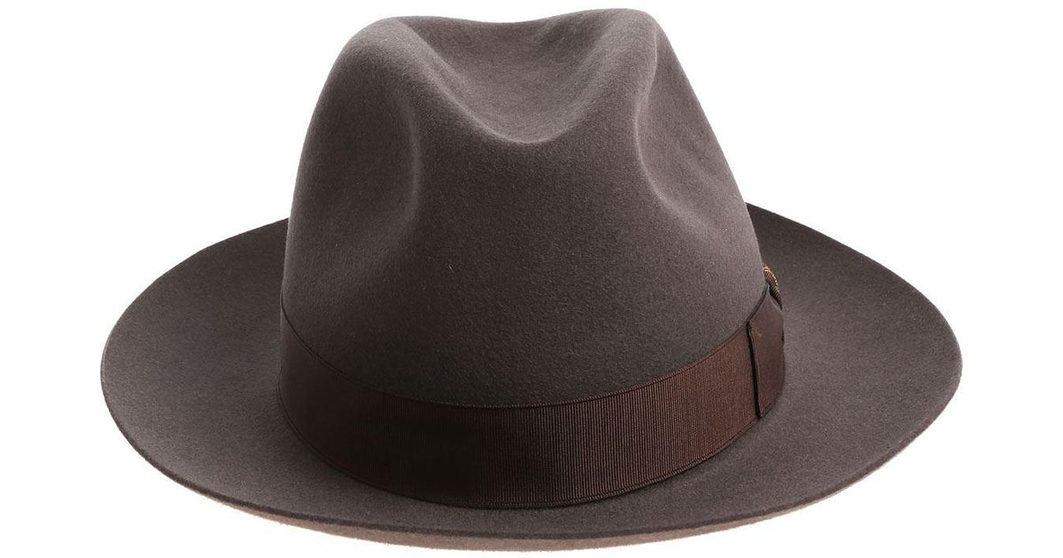 Lyst - Borsalino Alessandria Mud Colored Felt Hat in Brown for Men 071f03e327c