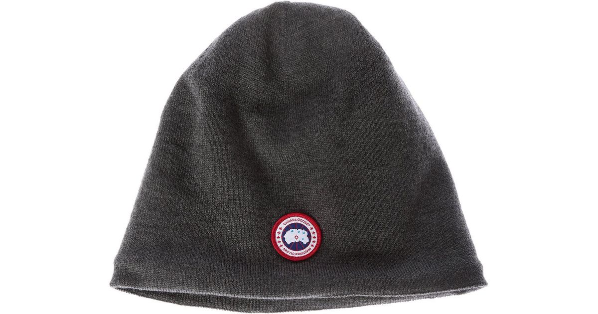 40cbb72b050 Canada Goose Gray Beanie With Logo in Gray for Men - Lyst