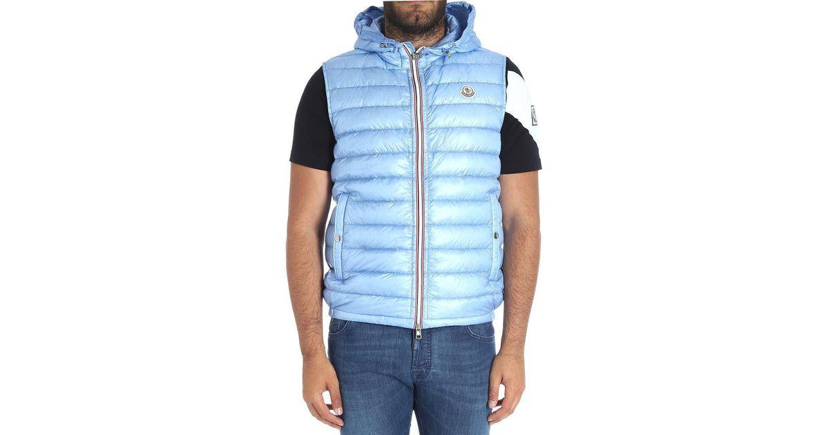 6f957c49bf2 Lyst - Moncler Light Blue Gien Sleeveless Down Jacket in Blue for Men