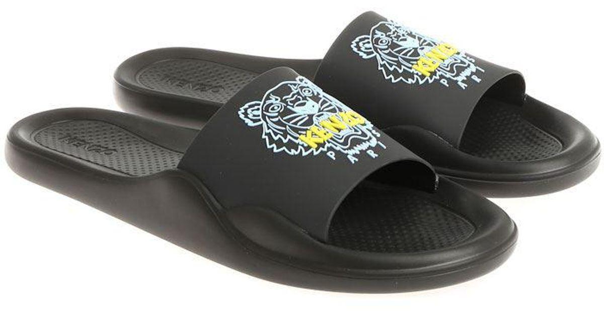 a826137a1 KENZO Black Tiger Slides in Black for Men - Lyst