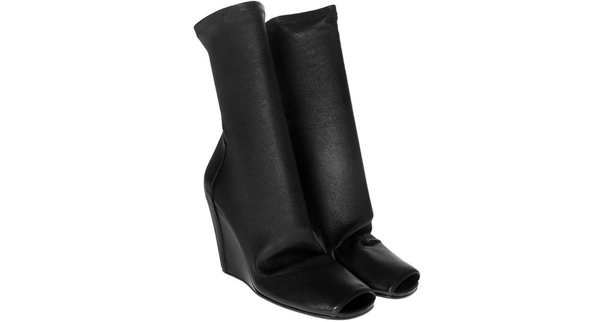 d5eaee398e7d Lyst - Rick Owens Black Sock Wedge Boots in Black