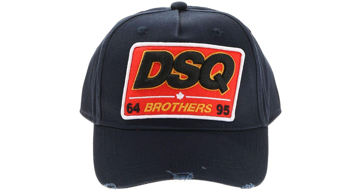 Lyst - DSquared² Blue Dsq Brothers Baseball Hat in Blue for Men f0b61973961