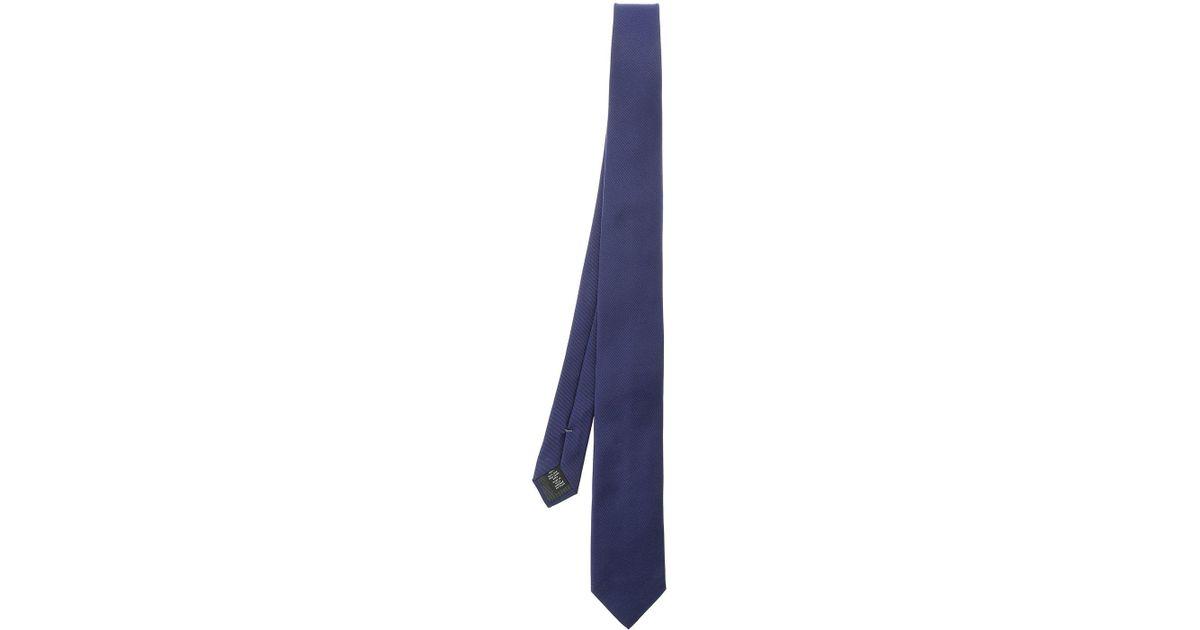3dca4420 Ermenegildo Zegna - Striped Navy Blue Silk Tie for Men - Lyst