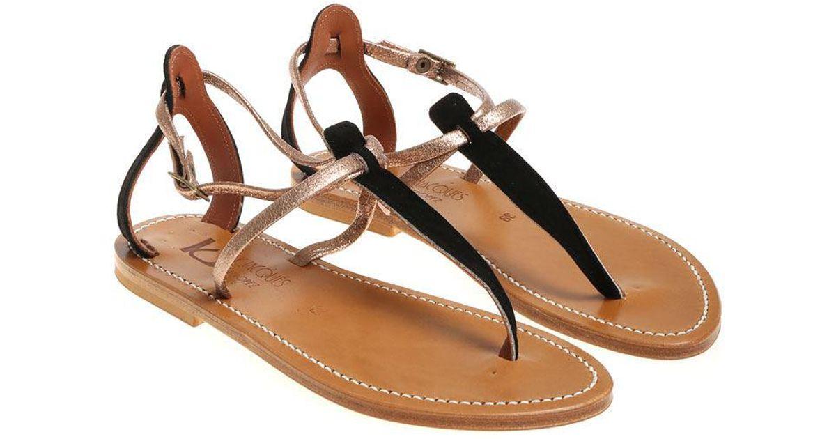 41b0c2e2350c Lyst - K. Jacques Black And Pink Buffon Thong Sandals in Black