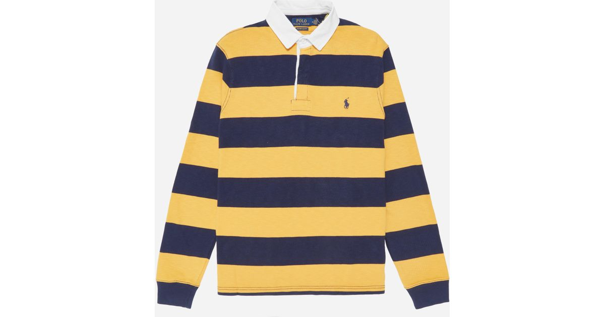 Lyst - Polo Ralph Lauren Long Sleeve Rugby Shirt in Yellow for Men c7d32292b