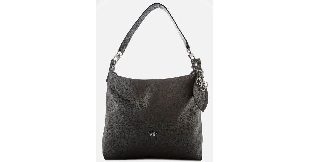 aba382a1d2 Lyst - Guess Lou Lou Hobo Bag in Black