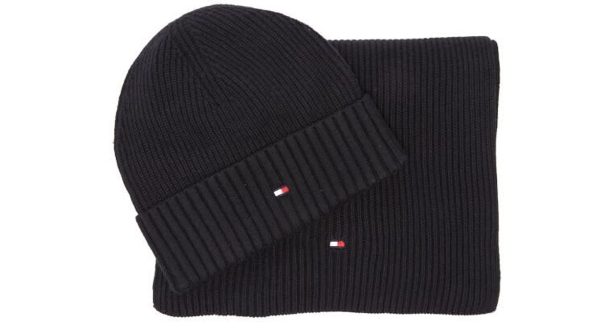 Tommy Hilfiger Pima Cotton Cashmere Scarf And Beanie Set in Blue for Men -  Lyst 262a3d6223d8