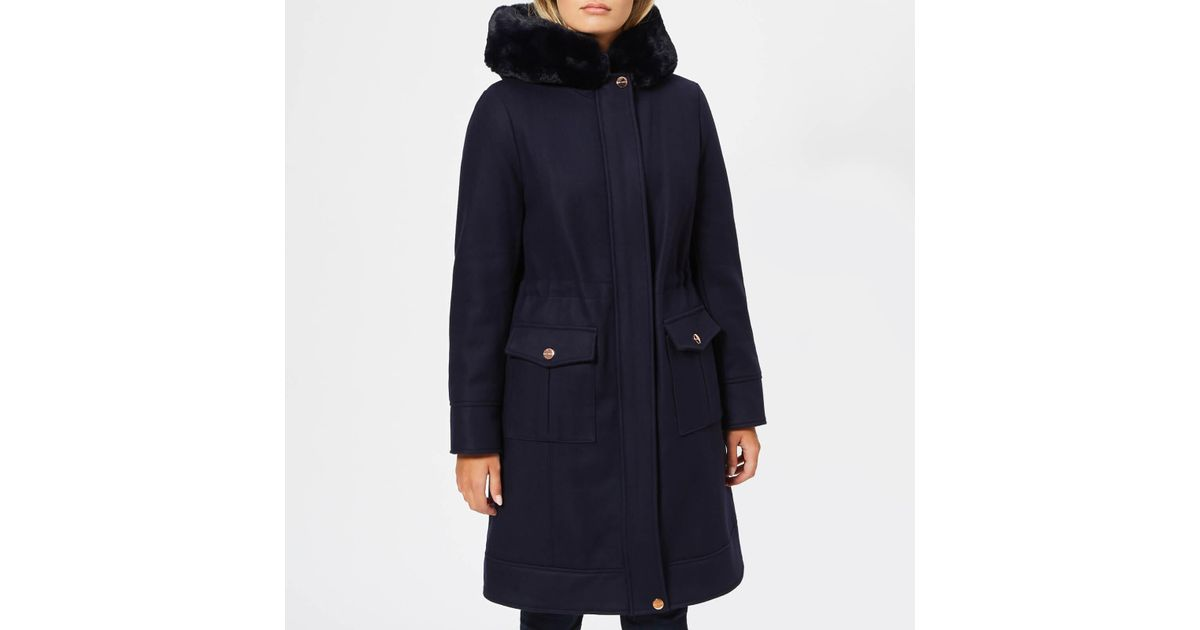 ccf70955b024 Lyst - Ted Baker Aniyah Faux Fur Hooded Wool Parka in Blue